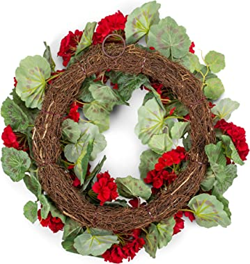 RAZ Imports Red Geranium Wreath - 22 inch