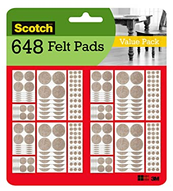 Scotch Felt Pads Value Pack, Round, Beige, Assorted Sizes, 162 Pads/Pack, 4-Packs (648 Total)