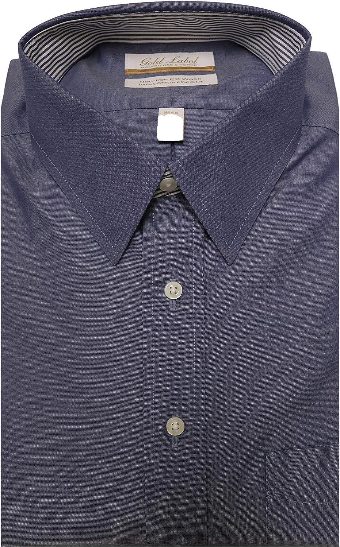 Gold Label Roundtree & Yorke Non-Iron Regular Point Collar Solid Dress Shirt F85DG343 Denim Blue