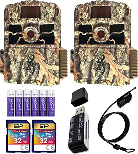 new arrival Browning lowest BTC-6HD-MXP Dark Ops HD MAX Plus Trail Cameras (2-Pack) Bundle with 32GB SDHC Memory 2021 Cards (2-Pack), Blucoil 6 AA Batteries, 6.5-FT Combination Cable Lock, and USB 2.0 Card Reader outlet online sale