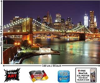 Poster – New York Mural – Decoration Brooklyn Bridge at Night Glowing Skyscraper Skyline Wall Street USA Decoration Wallposter Photoposter Wall Mural Wall Decor (55 x 39.4 Inch / 140 x 100 cm)