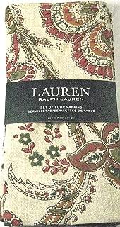 RALPH LAUREN Avery Paisley Napkin Set of 4 - Tan Beige Green Rust