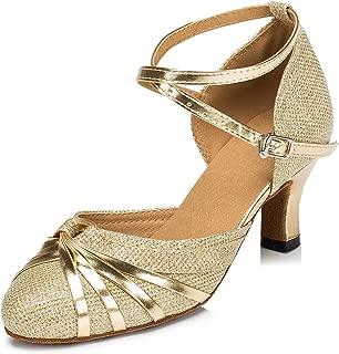 URVIP Women's Sequins Heels Pumps Modern Latin Tango Shoes Cross Ankle Strap Buckle Dance Shoes LD072