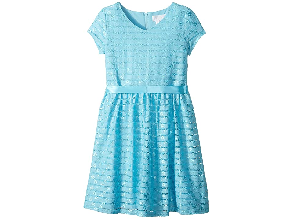 Us Angels Short Sleeve Embroidered Lace Dress with Full Skirt (Big Kids) (French Blue) Girl