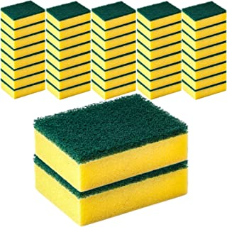 DecorRack 42 Cleaning Scrub Sponges for Kitchen, Dishes, Bathroom, Car Wash, One Scouring Scrubbing One Absorbent Side, Ab...