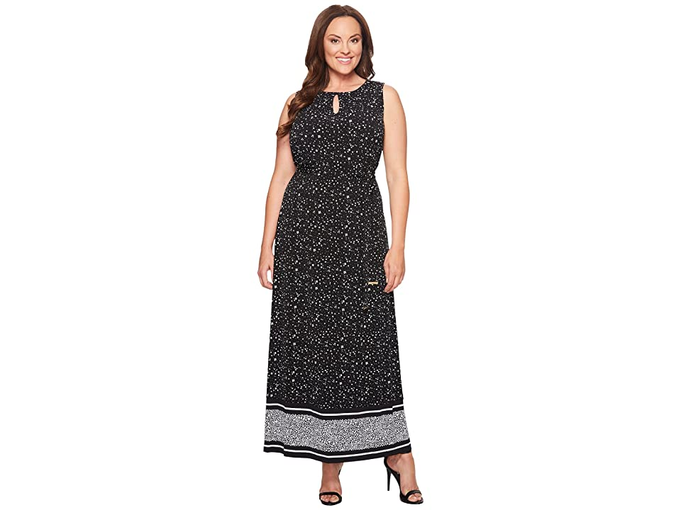 MICHAEL Michael Kors Plus Size Nora Border Maxi Dress (Black) Women