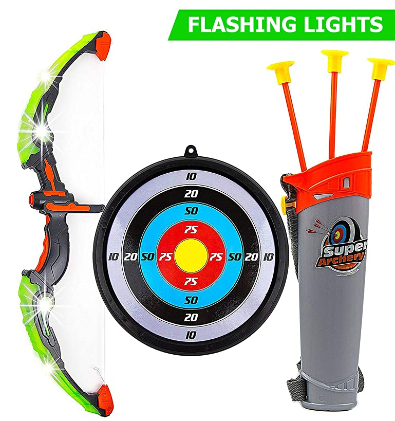 Toysery Kids Archery Bow and Arrow Toy Set - Arrow Holder Target and Quiver -Green Light Up Function - Hunting Series Toy for Boys and Girls