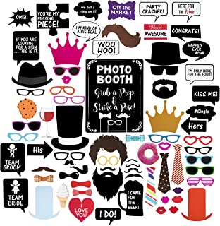 Wedding Photo Booth Props - Set with Chalkboard Style Black Sign, Wooden Sticks and Stand | 75 Pieces