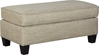 Benjara Transitional Wooden Ottoman with Piped Stitching and Tapered Legs, Beige
