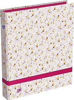 OXFORD Classeur Flowers A4 Dos 40mm 4 Anneaux Ronds Couverture Carte Pelliculée Décor Floral