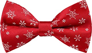 Lovacely Mens Christmas Bow Tie Festival Theme Pattern Jacquard Woven Xmas Party Pre-Tied Bowties