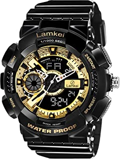 Lamkei LAM-1210 Digital Watch for Men - Fashion Luxury Casual Analogue Digital Multifunction Black Dial White Synthetic Strap Stylish Latest Men's Sports Watch