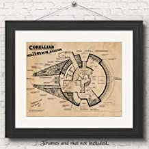 Original Star Wars Millenium Falcon Patent Poster Prints, Set of 1 (11x14) Unframed Photo, Wall Art Decor Gifts Under 20 for Home, Office, Garage, Man Cave, Student, Teacher, Comic-Con & Movies Fan