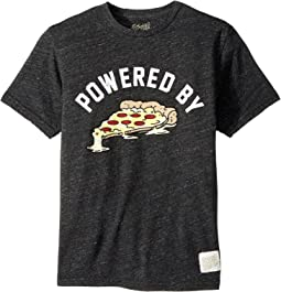 The Original Retro Brand Kids - Powered By Pizza Short Sleeve Tri-Blend T-Shirt (Big Kids)