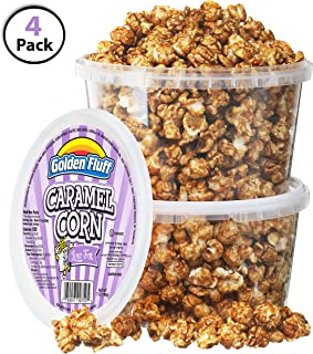 Low Fat Crunchy Caramel Popcorn Tubs [Pack of 4, 7 oz] | BONUS Bag Of Sugar-Toasted Peanuts | Resealable Plastic Containers, Sweet Flavor & Thin Caramel Coating