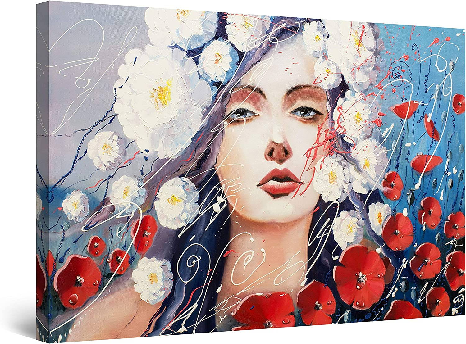 Startonight Canvas Max 50% OFF Wall Art Decor Abstract Woman and Flowers security Pri
