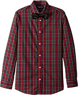Stretch Holiday Tartan Shirt with Bowtie (Big Kids)