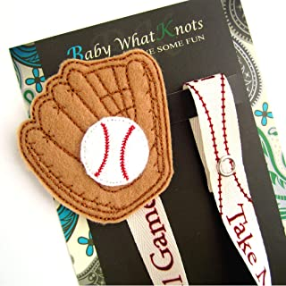Baseball Glove Embroidered Pacifier Clip for Baby