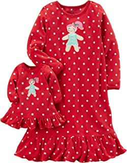 Carters Girls Microfleece Nightgown and Doll Gown Red Gingerbread Girl 2-3