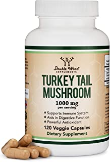 Turkey Tail Mushroom Supplement (120 Capsules - 2 Month Supply) (Coriolus Versicolor) Comprehensive Immune ...