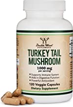 Turkey Tail Mushroom Supplement (120 Capsules - 2 Month Supply) (Coriolus Versicolor) Comprehensive Immune System Support, Organic, Non-GMO, Gluten Free, Made in The USA by Double Wood Supplements