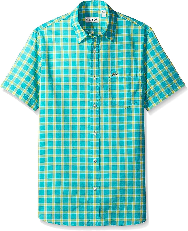 Lacoste Men's Short Sleeve Poplin Medium Reg Check Shi Super sale period limited Woven Fit Long-awaited