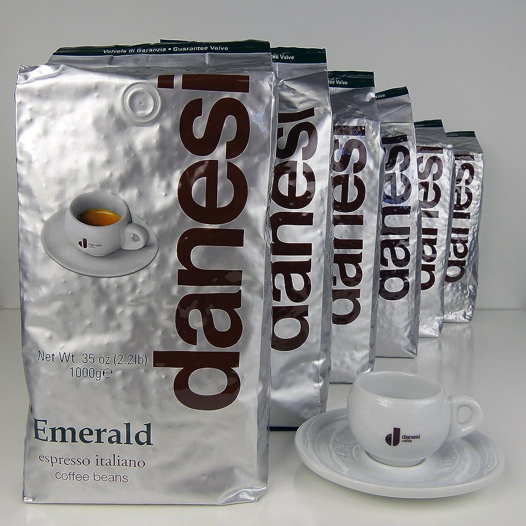 Danesi Emerald Quality Espresso Coffee Beans (6 x 2.2 lbs Bag + Cup)