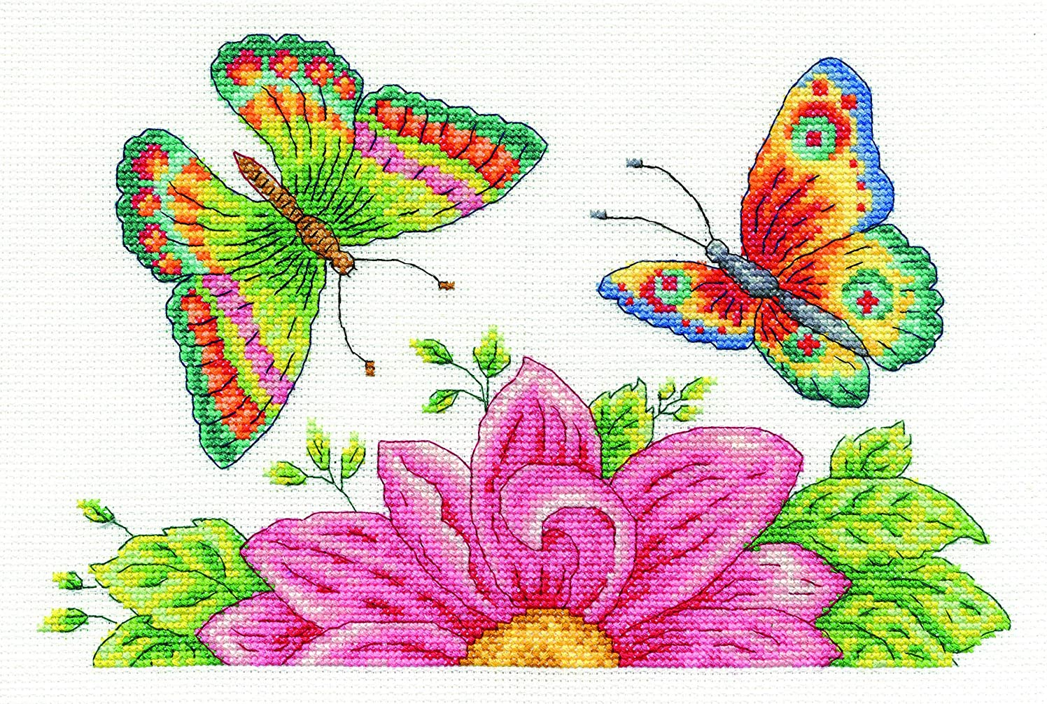 DMC BK1545 14 Count Butterfly Garden Counted Cross Stitch Kit, 10