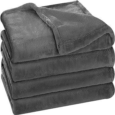 Utopia Bedding Fleece Blanket Queen Size Grey 300GSM Luxury Bed Blanket Fuzzy Soft Blanket Microfiber