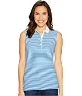 Lacoste Sleeveless Stretch Petit Pique Striped Polo