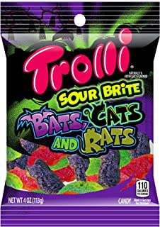 Trolli (1) bag Sour Brite Bats, Cats and Rats - Gummi Candy - Flavors: Cherry, Lemon, Strawberry, Grape, Orange, Lime - Assorted Halloween Shapes & Flavors Net Wt. 4 oz