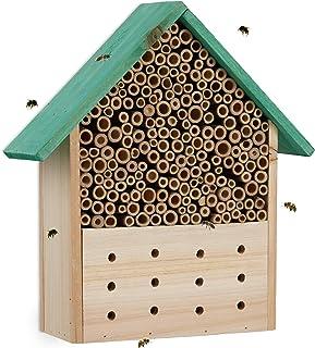 Relaxdays Insektshotell, häckstöd för vilda bin och getingar, trädgård, balkong, bihotell HxBxD 30 x 27 x 9 cm, natur/grön
