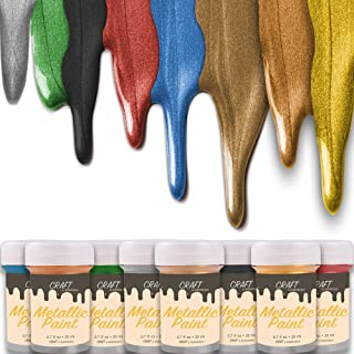 CRAFT Metallic Acrylic Paint Set - 8 Colors: Multi, Gold, Silver, Bronze, Copper - Shiny Metallic Effect - Premium Acrylic Paint - Extreme High Metall Pigmentation - For Canvas Painting or Any Surface