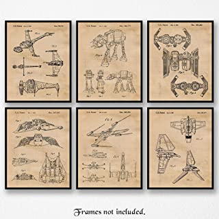 Original Star Wars Vessels Vehicles Patent Art Poster Prints, Set of 6 Photos (8x10) Unframed, Great Wall Art Decor Gifts Under 20 for Home, Office, Man Cave, Student, Teacher, Comic-Con & Movies Fan