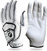 Franklin Sports Golf Glove - Pro Golf Gloves - Premium Leather Golfing Glove - Maximum Grip - White - Men's Golf Glove