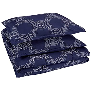 AmazonBasics Comforter Set, King, Navy Nautical Knot, Microfiber, Ultra-Soft