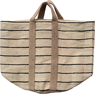 Creative Co-Op Jute Striped Bag with Handles Tote, Brown