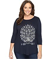 Lucky Brand - Plus Size Embroidered Peacock Tee