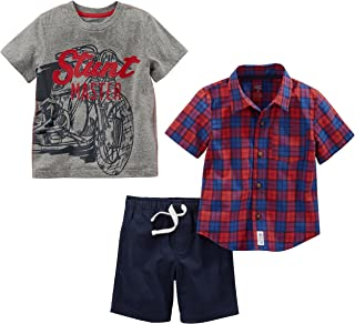 Simple Joys by Carter's Toddler Boys' 3-Piece Button Up, Tee, and Shorts Playwear Set