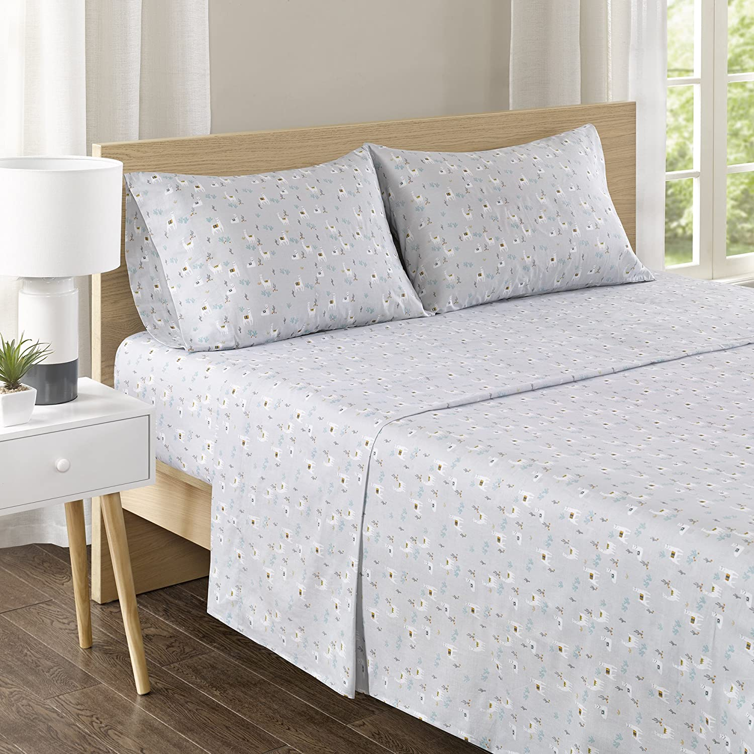 Comfort Spaces 100% Cotton Percale 4 Piece Set Ultra Soft Breathable Bed Sheet
