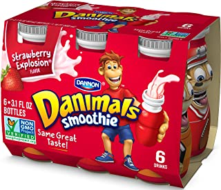 Dannon Danimals Smoothie Lowfat Dairy Drink, Strawberry Explosion, 3.1 Ounce Drinks (Pack of 6)