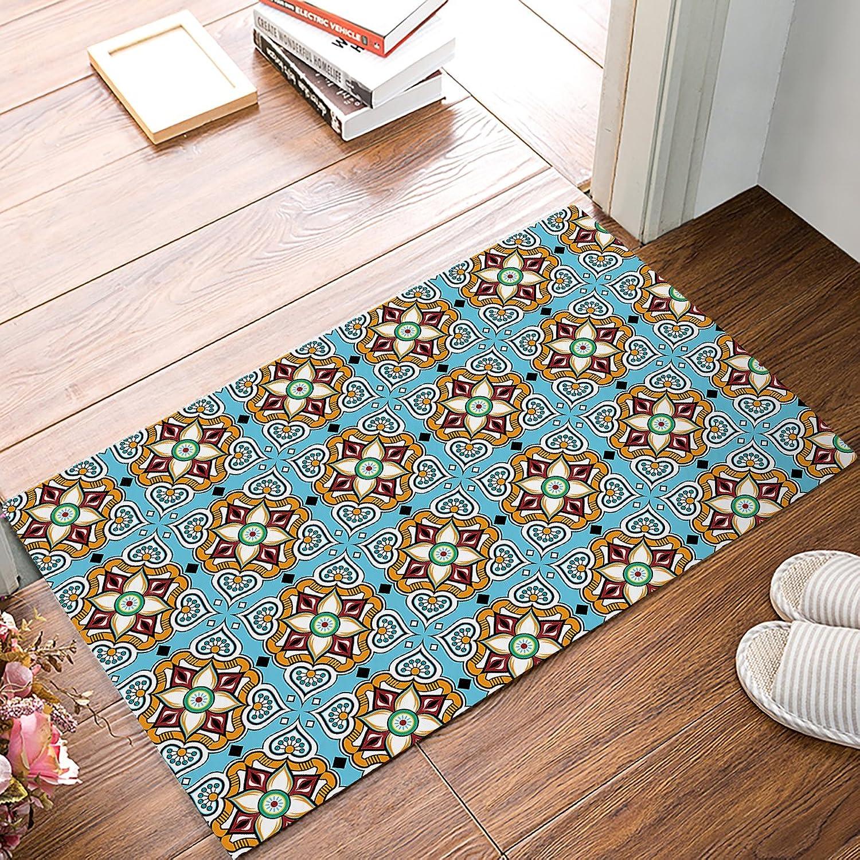 Findamy Non-Slip Indoor Door Mat Entrance Rug Rectangle Absorbent Moisture Floor Carpet for Vintage Tile Pattern Doormat 20x32 inch