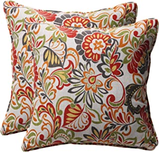Pillow Perfect Decorative Modern Floral Square Toss Pillows, 18-1/2