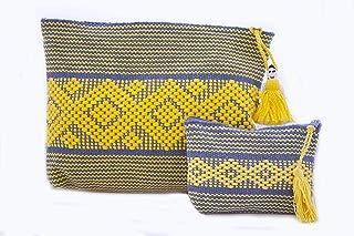 Set Cosmetiqueras Mediana y Chica Gris con Amarillo,Bordada en telar de Cintura