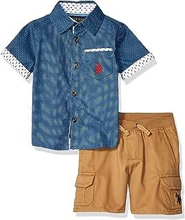 U.S. Polo Assn. Baby Boy's 2 Piece Short Sleeve Woven Shirt and Short Set Shorts