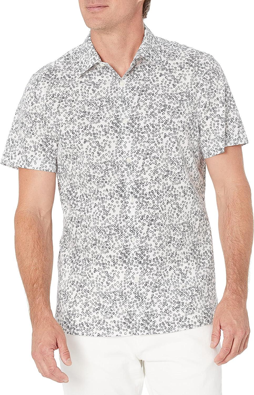 Perry Ellis Men's Big & Tall Sketch Circle Print Stretch Shirt