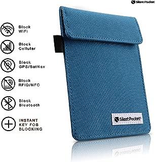 Silent Pocket Signal Blocking Faraday Key Fob Case - Car Anti Theft Device Shielding Against All Signal Types, Including RFID Blocking & Durable Faraday Bag, Fits Most Car Keyfobs (Blue, X-Small)