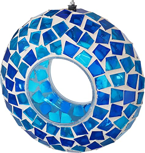 new arrival Sunnydaze Hanging Bird Feeder - Outdoor Round Decorative Birdfeeder with online Fly-Through Opening outlet online sale and Blue Glass Mosaic Design - Backyard, Deck and Porch Decor - 6-Inch online sale