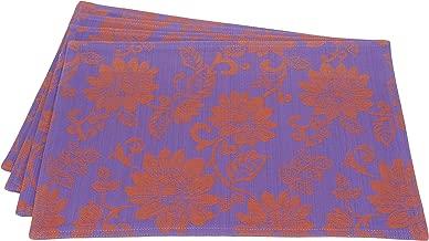 Mahogany T423PM Lotus Jacquard Placemat, 13 by 19-Inch, Indigo/Orange, Set of 4