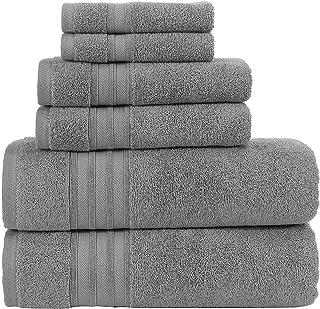 Hammam Linen 6-Piece Grey Bath Towels Set Original Turkish Cotton Soft, Absorbent and Premium Towels Set for Bathroom and ...